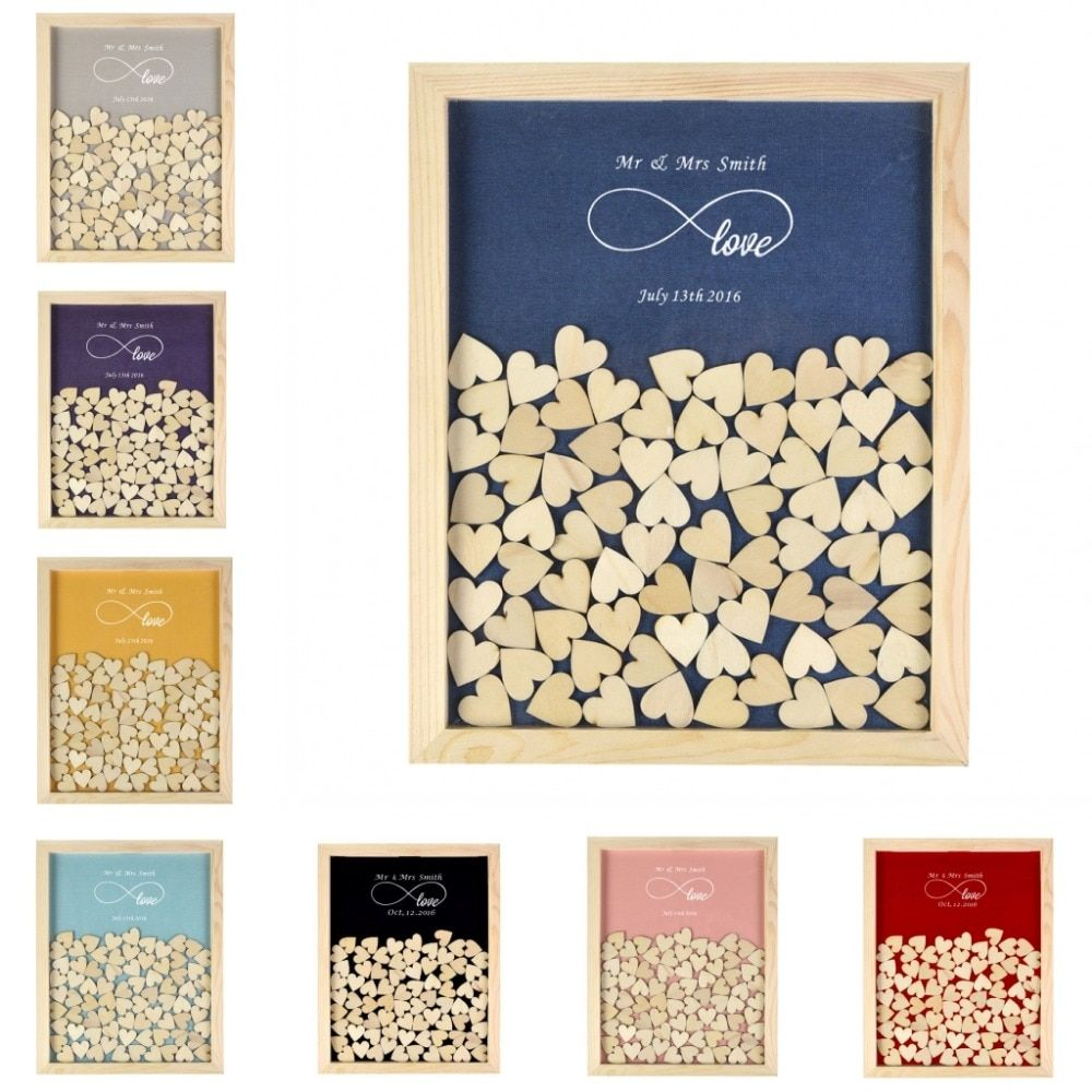 Personalised Wooden Drop Top Frame Wedding Guest Book Love Forever Rustic Alternative Unique 130Pcs Hearts Decor