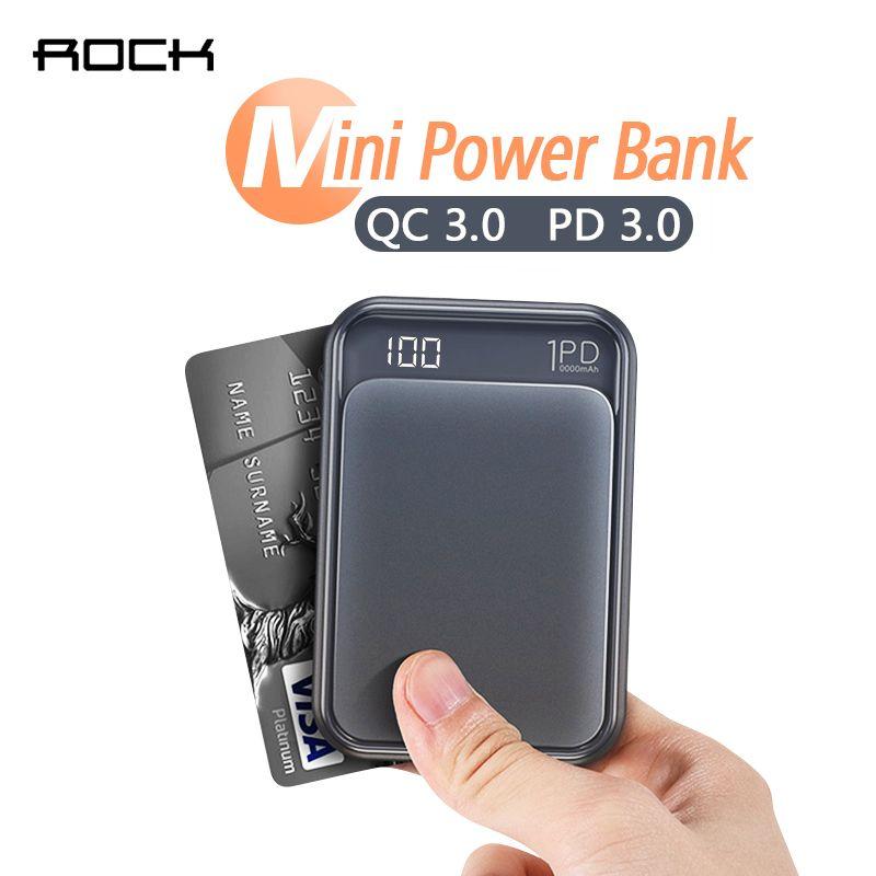 ROCK 18W Type C PD QC 3.0 batterie externe 10000mah mi ni batterie externe affichage de LED USB chargeur rapide rapide Powerbank pour Xiao mi