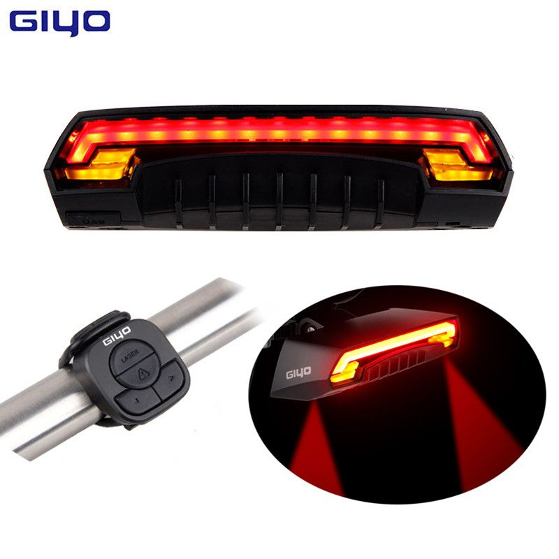GIYO Wireless Remote Contoller Bicycle Tail Light Two Yellow Cornering Lamp USB Charging Waterproof IPX4 Laser Safety Bike Light
