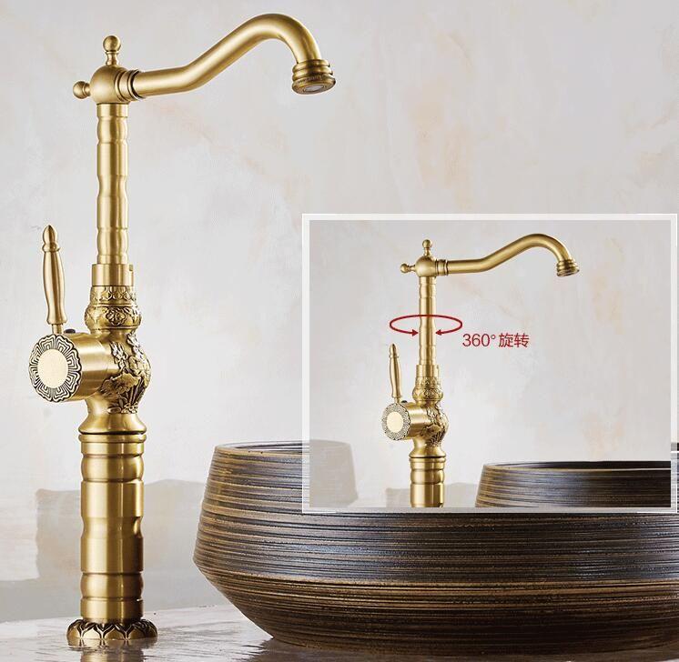 Haute qualité luxe antique bronze robinet d'eau cuivre sculpture pont monté salle de bains bassin robinet grand évier robinet mélangeur