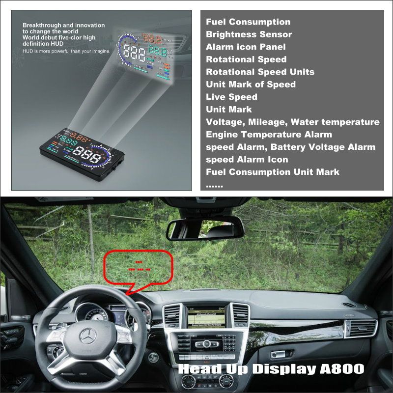 Car HUD Head Up Display For Mercedes Benz ML M MB W164 ML350 ML330 ML63 AMG Safe Driving Screen Projector Refkecting Windshield