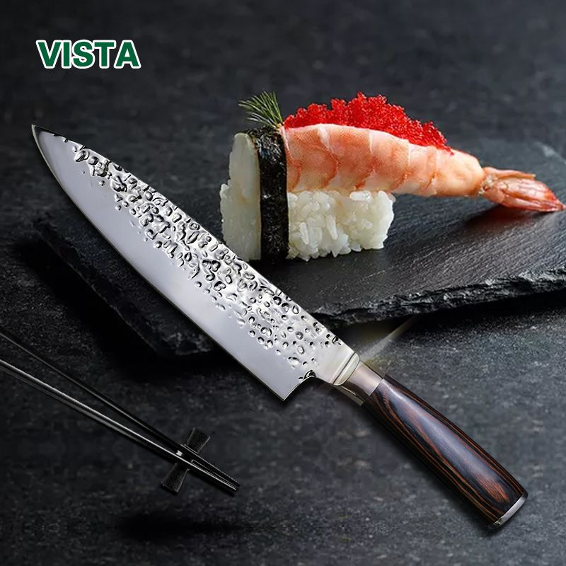Kitchen Knives 8Inch Stainless Steel Chef Knife High Grade 7Cr17 Frozen Meat Cutter Wood <font><b>Handle</b></font> Identation blade Cooking Tools