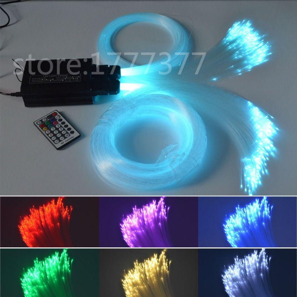 LED Fiber Optic star ceiling light kit 0.75mm*150pcs+1mm*50pcs optical fiber 32W light source RGBW starry sky ceiling lights