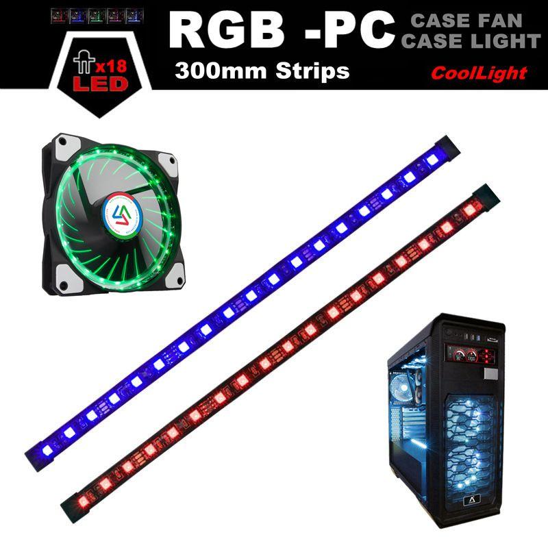 ALSEYE RGB LED Ordinateur Ventilateurs De Boîtier, RGB Bandes (2 bandes/pack), RGB Ventilateur (1 pièce/pack), Magnétique 30 cm LED Lumière pour les Jeux PC