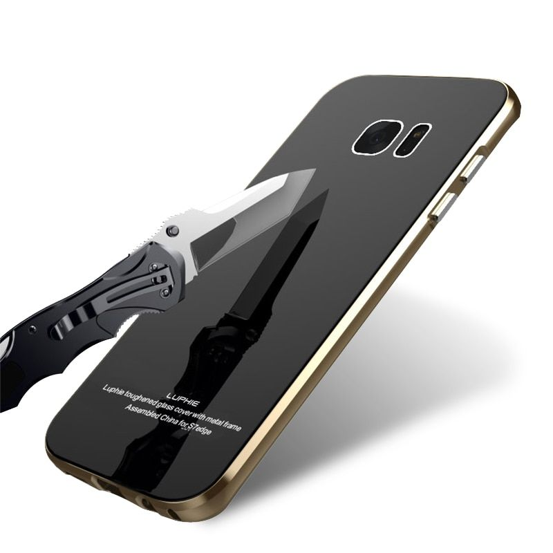 LUPHIE Scratch-resistant Luxury for Samsung S7 Bumper Case Aluminum Galaxy S7 Metal Case Cover Coque S 7 Capinha Black Gold