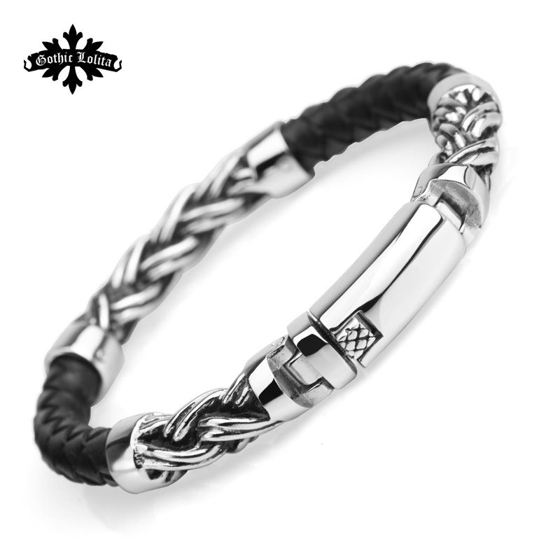 Brief  Weaving  Leather rope mix style with stainless steel cuff bracelet for men