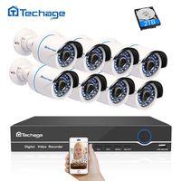 Techage 8CH 1080 P POE NVR CCTV Системы 2MP открытый Водонепроницаемый безопасности POE IP Камера ИК ночного P2P Onvif комплект видеонаблюдения