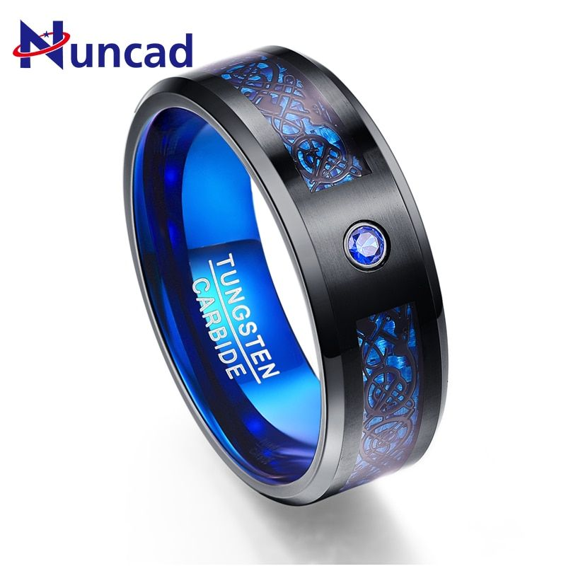 Foreign Trade Carbon Fiber Scrub Blue Zircon Men Rings 100% Tungsten Carbide Anillos para hombres Black Dragon