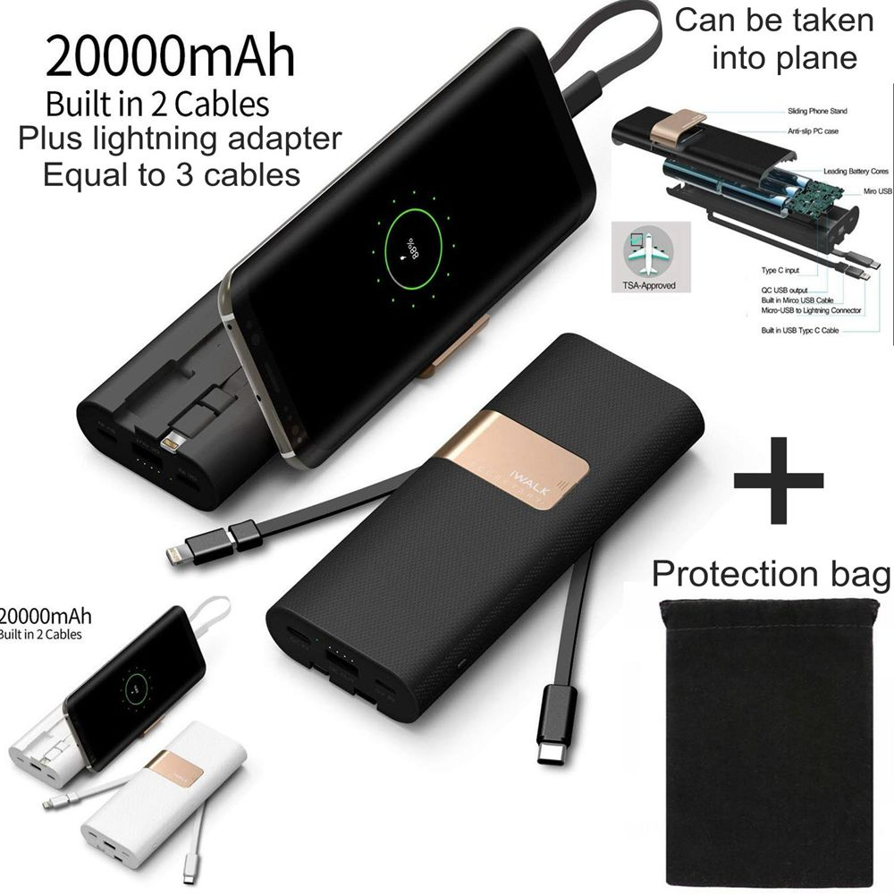 IWalk 20000 mah Power Bank Quick Charge QC 3,0 Power Typ C mit USB C Kabel für Xiaomi Mi8 Samsung s9 iPhone X Huawei P20