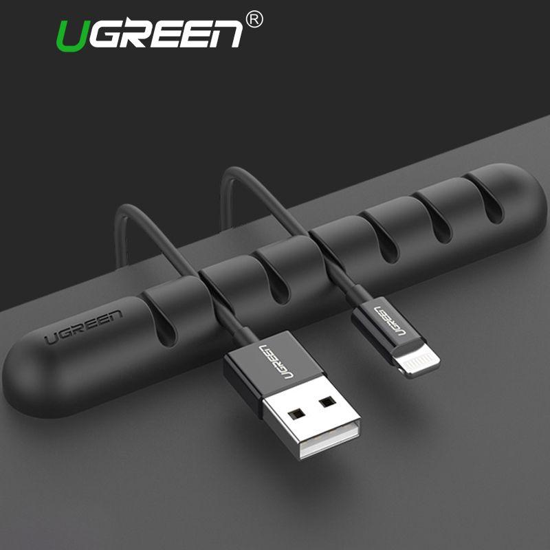 Ugreen из 2 предметов Кабельный организатор силиконовый USB Устройства для сматывания шнуров гибкий кабель Управление Зажимы держатель кабеля ...