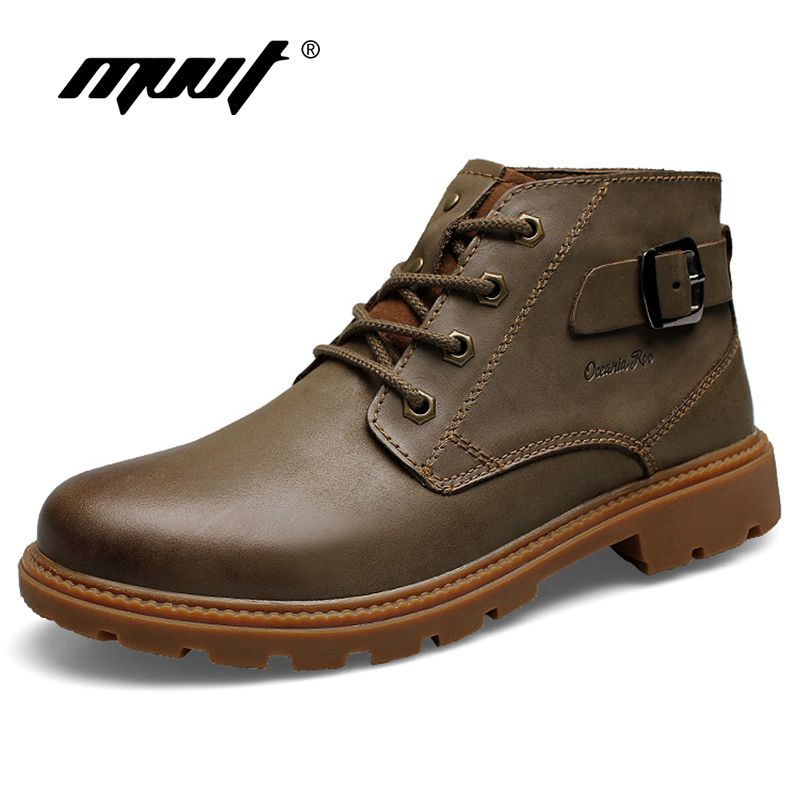 MVVT Genuine Leather Boots Men Winter Boots Super Quality Nubuck Leather Men Ankle Boots Wear-Resisting Safety & Work Boots Man