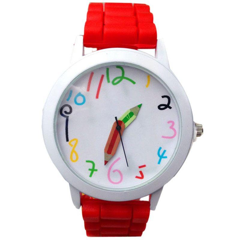 Hot sale lovely cute watch silicone strap quartz watches outdoor sport round shape wristwatch for children