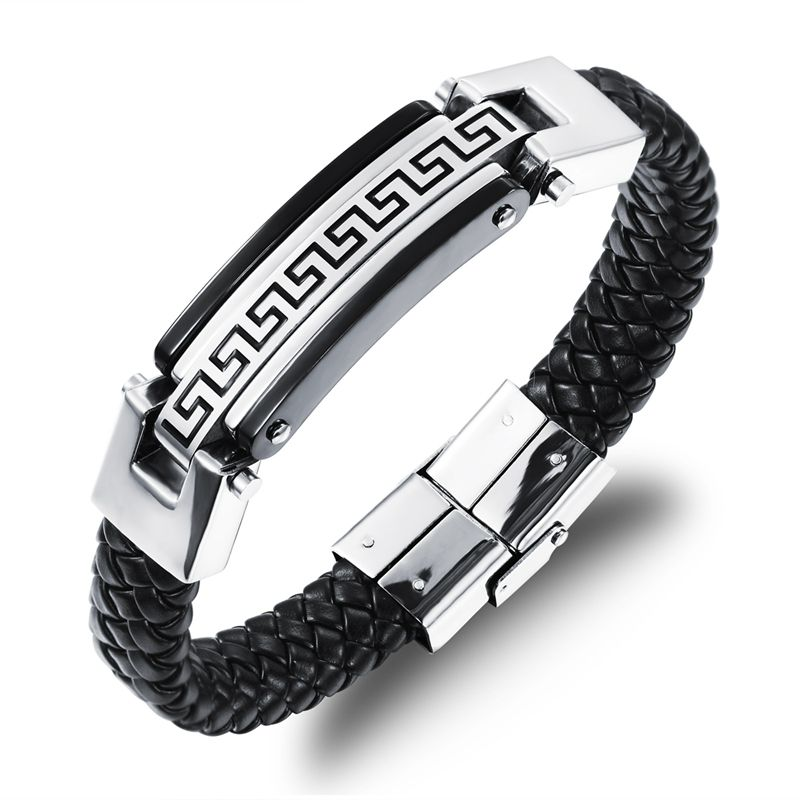 LASPERAL Stainless Steel Men Brecelets For Women Black Great Wall Pattern Magnetic Snap Allergy Summer Style Fine Jewelry 1PC