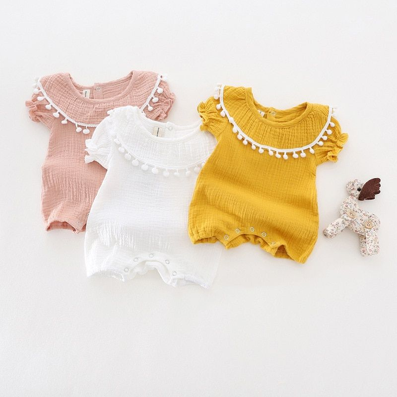 Cute Newborn Baby Girl Romper 2017 Summer short sleeve Princess fur ball Sunsuit One Pieces Tassel Clothes free <font><b>drop</b></font> shipping