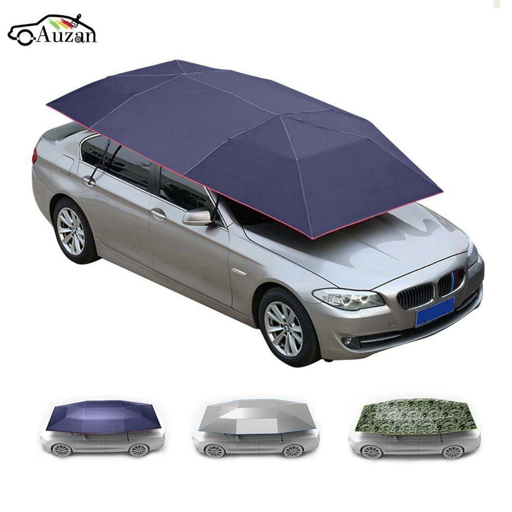 Roof Car Umbrella Shade Sunshade Insulation Cover Semi-automatic Anti-theft Portable 400x210cm Covers