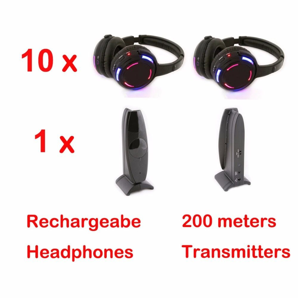 Silent Disco 10 LED Headphones with 1 transmitter- RF Wireless For iPod MP3 DJ Music