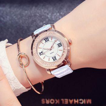 Dames De Mode Montre À Quartz Femmes Strass PU Cuir Casual Robe de Femmes Montre en Or Rose Cristal reloje mujer montre femme