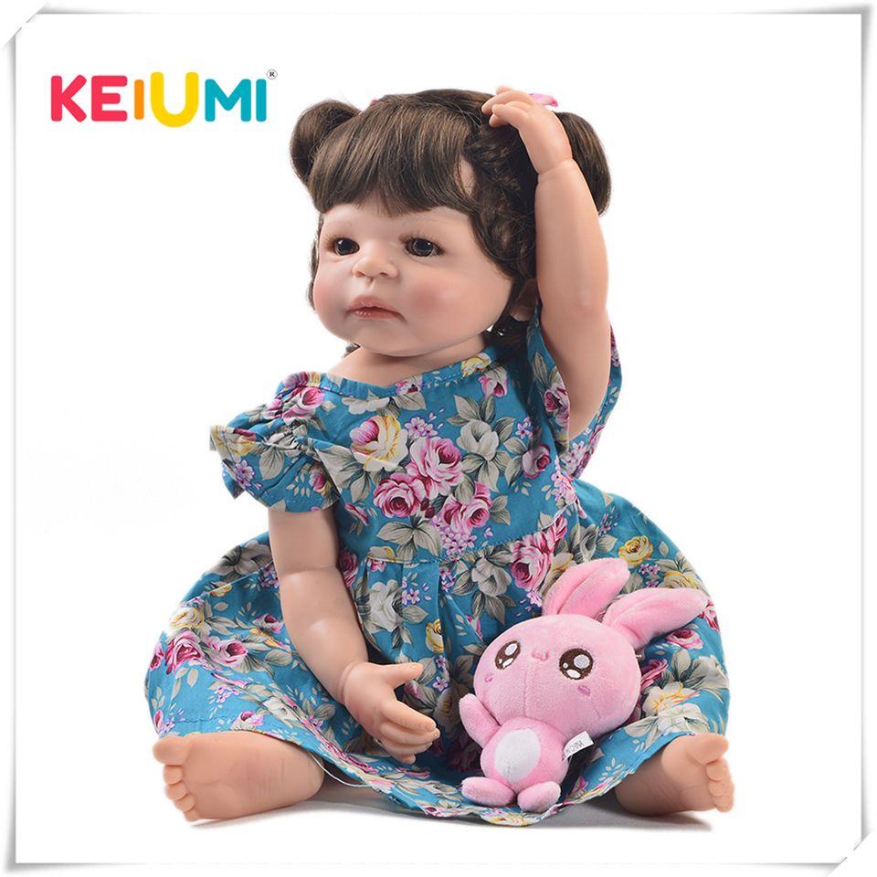 KEIUMI 22 pouces mode Reborn vivante fille poupée corps entier Silicone réaliste princesse bébé poupée pour enfants cadeaux de noël bricolage Style de cheveux