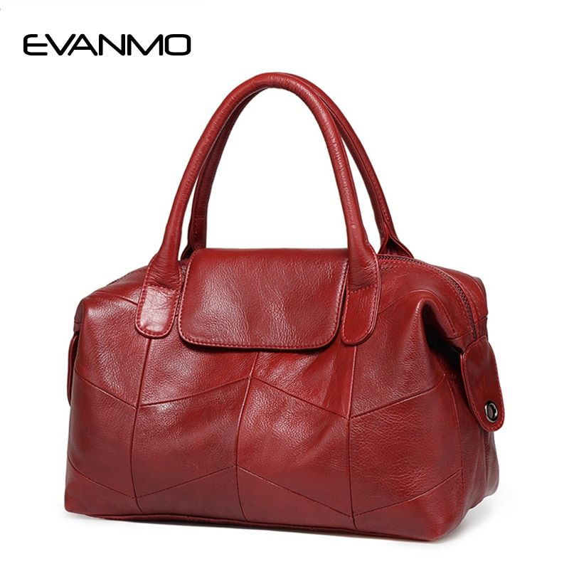 2018 New Women Genuine Leather Boston Bag Europe Style Simple Handbag Fashion Trend Shoulder Bag office lady Tote handbag