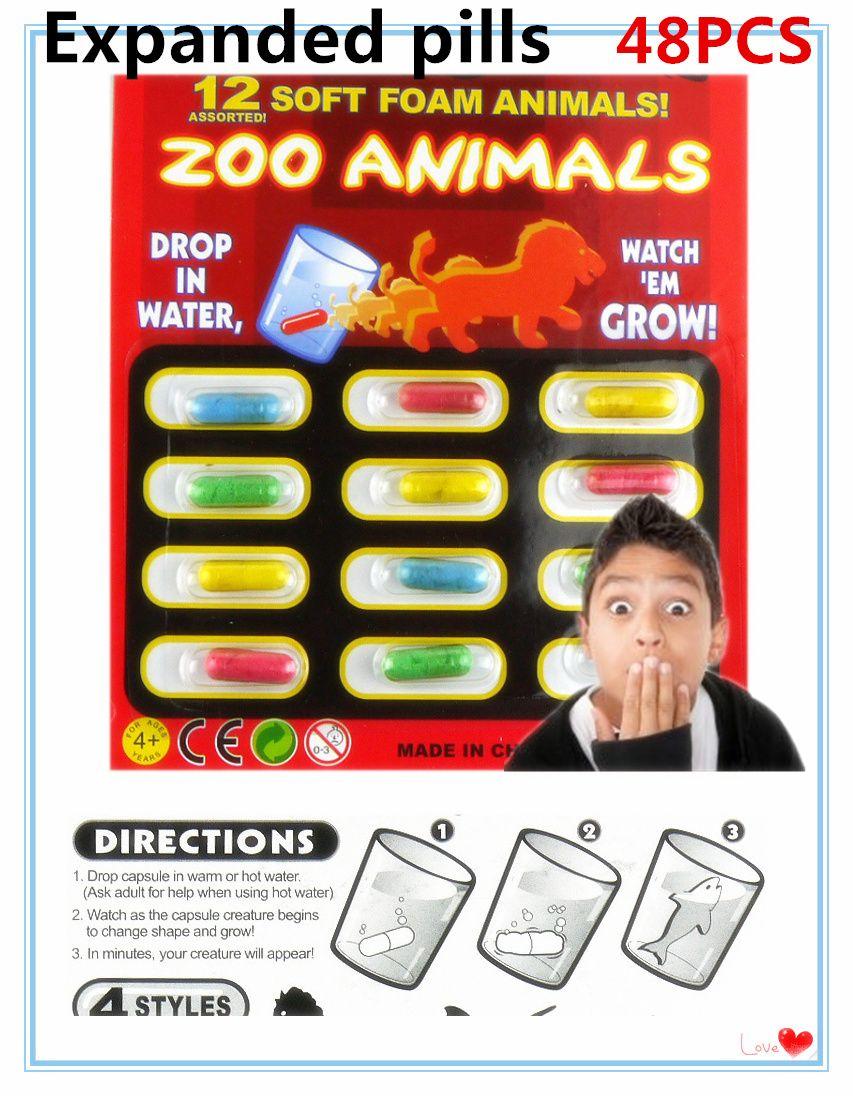 2017 nouveau magique doux EVA bébé Cognition jouets début jouet éducatif enfants dessin animé dinosaure jouets bain jouet grandir capsule 4 ensemble (48 pièces)