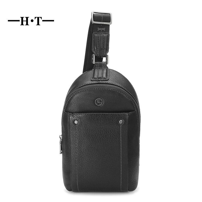 HT Man Chest Bags Genuine Leather Crossbody Bag Male Shoulder Messenger Bag Black Casual Business Style Sling Bolsa Chests Pack
