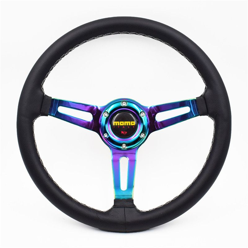 14inch MOMO Real Leather Multicolour Tuning Drift Steering Wheel
