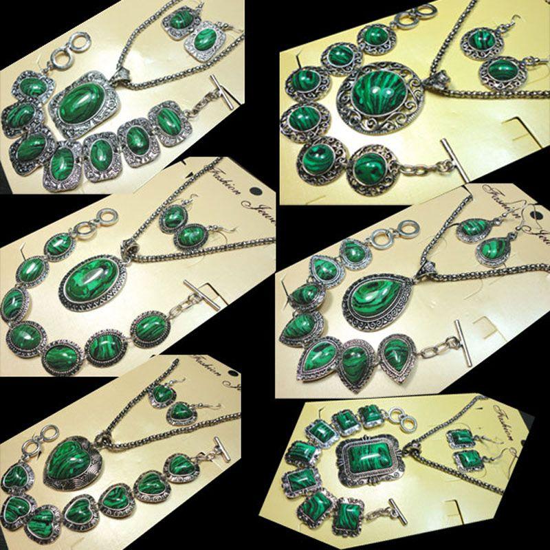 Joyería de moda muy vendida en 6 estilos, set de joyería antiguo / retro de plata malaquita, collar para mujer, sets de joyería con envío gratis