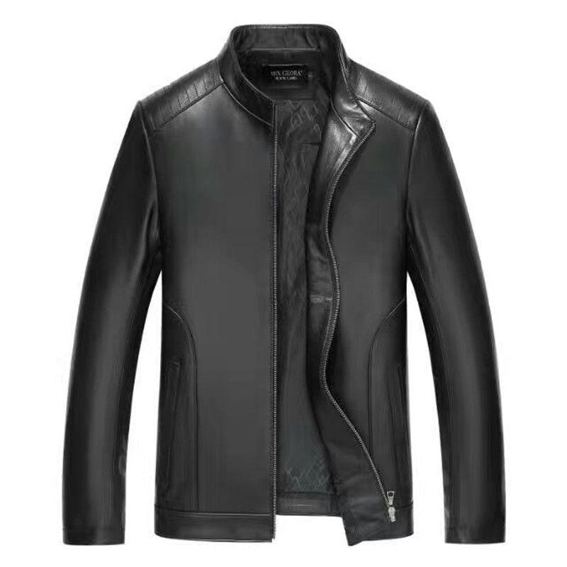 Brand Men Spring Genuine Leather Jacket For Men Jaqueta De Couro Masculina Black M-4XL Mens Pure Leather Jackets 16180