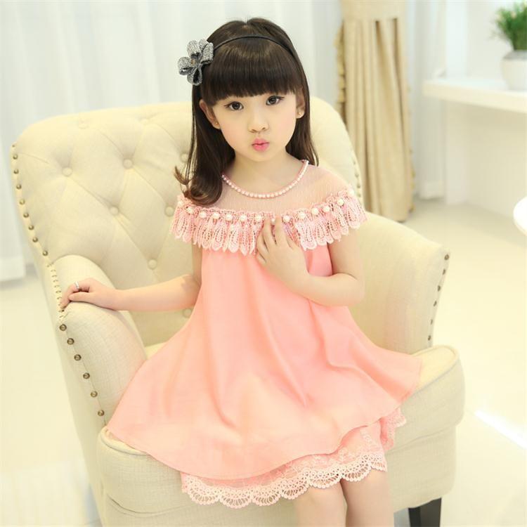 Filles Princesse Robe Enfants Vêtements Enfants Mousseline de Soie Qualité de Soirée Dentelle Robes BabyGirl Partie De Bal Perle Robe 2018 Nouvelle D'été