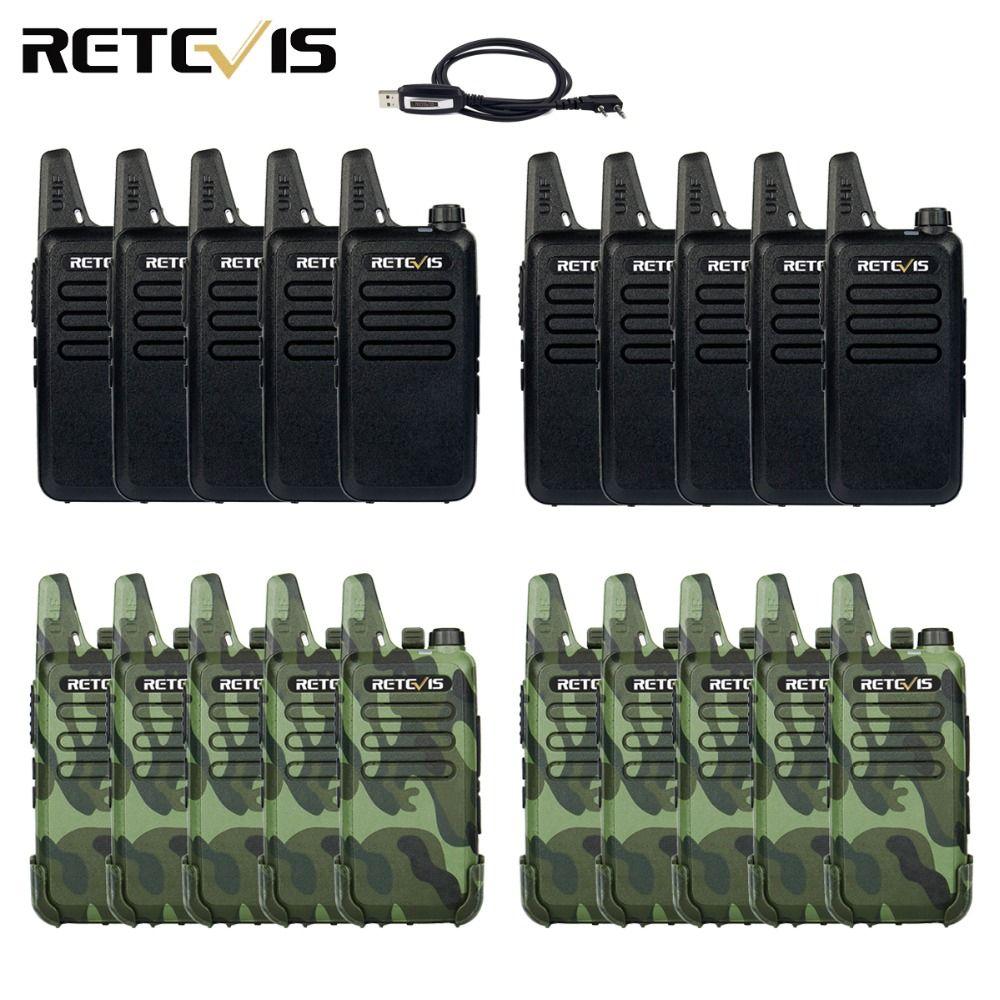 20pcs Mini Walkie Talkie Retevis RT22 Extreme Ultra-thin 2W UHF 400-470MHz VOX Ham Radio Hf Transceiver