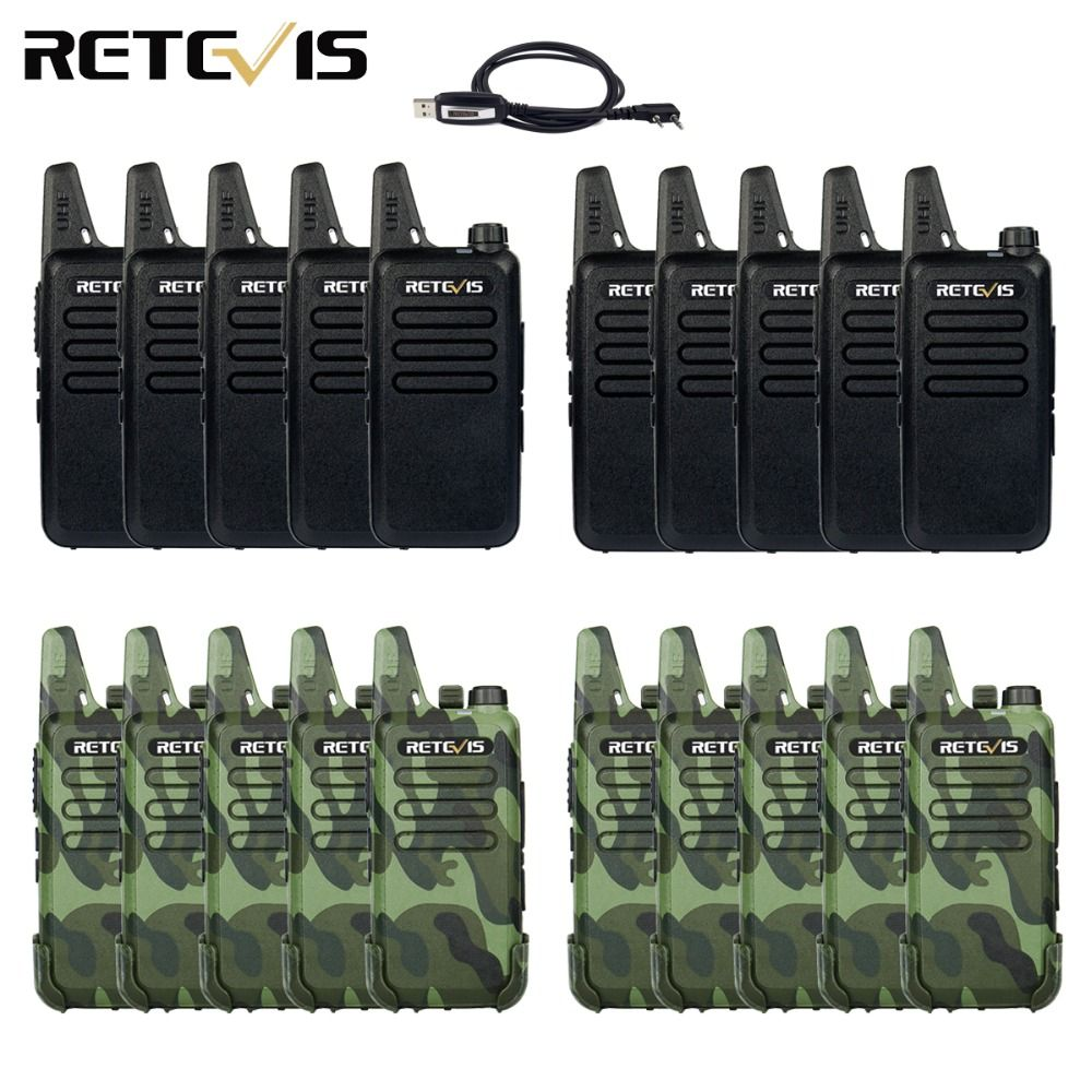 20pcs Mini Walkie Talkie Retevis RT22 Extreme Ultra-thin 2W UHF 400-480MHz VOX Ham Radio Hf Transceiver