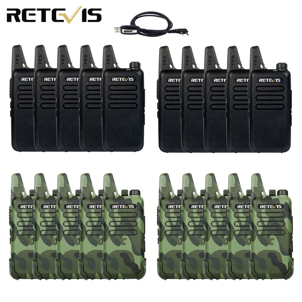 20pcs Mini Walkie Talkie Retevis RT22 Extreme Ultra-thin 2W UHF 400-470MHz VOX Ham Radio Hf Transceiver
