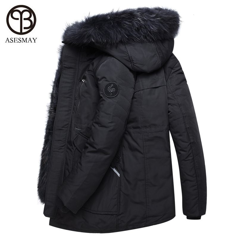 Asesmay New Arrival Men and Women Down Jackets Winter Coats Mens Parkas Thick Warm Removable Real Fur Casual Hoodies Snow Parka