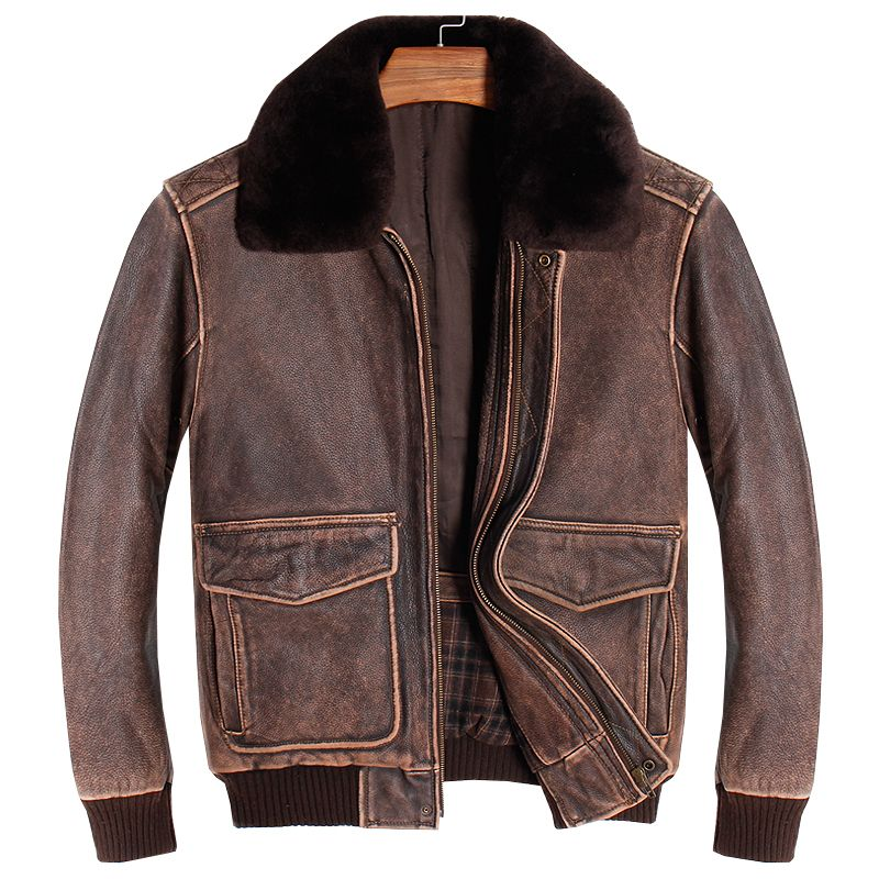 HARLEY DAMSON Vintage Brown Men A2 Pilot Leather Jacket Europe Size XXL Wool Collar Genuine Thick Cowhide Aviator Leather Coat