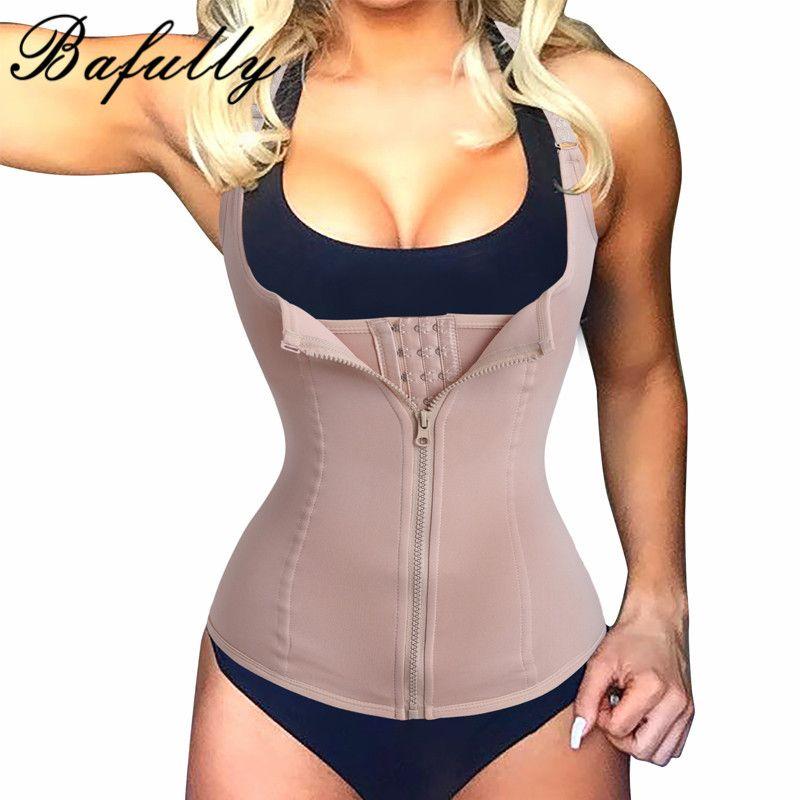 Bodysuit Women Slimming Zipper Waist Trainer Cinta Modeladora Hot Body Shaper Tummy Waist Cincher Tank Corrective Shapewear Tops