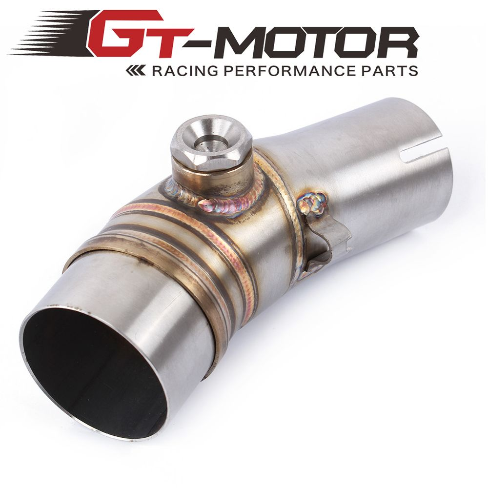 GT Motor - Free Shipping For Kawasaki ER6N without exhaust Slip-On  Motorcycle Exhaust Middle Pipe Round Muffler