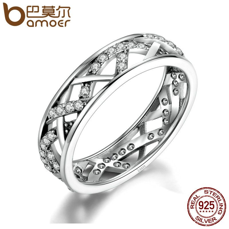 BAMOER Wedding 5mm Width 3 Size High Quality White Crystals 925 Sterling Silver Finger Ring for Women Fine Jewelry SCR002