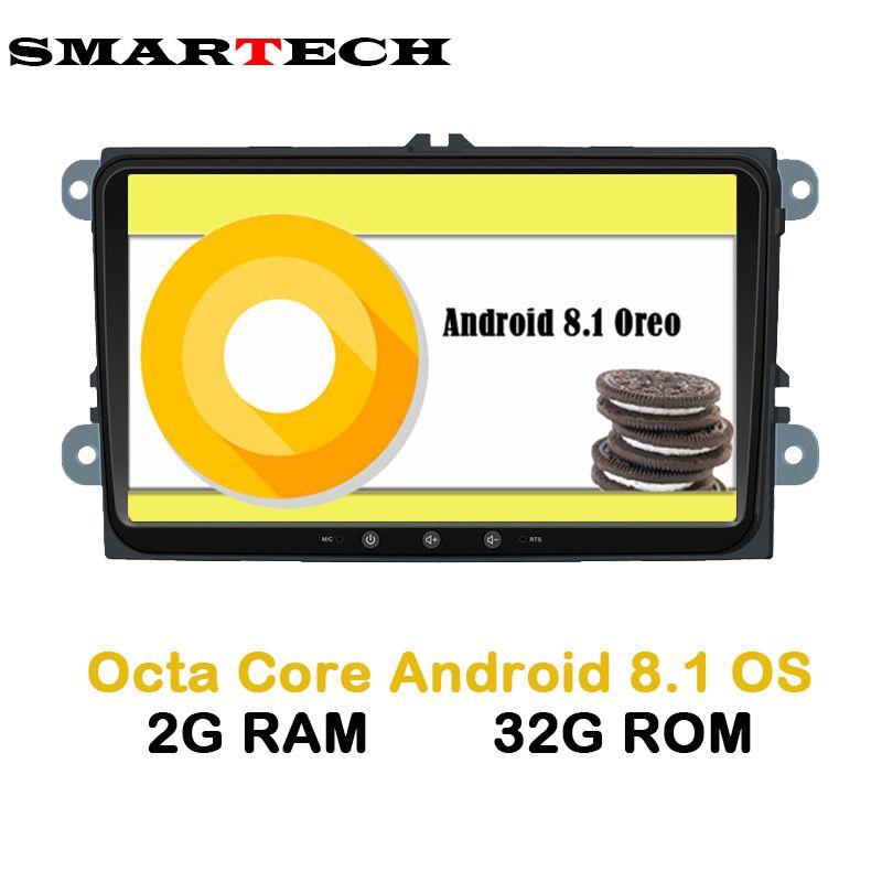 SMARTECH Octa Core 2 Din Android 8.1 VW Car Multimedia Player Stereo Radio Car Intelligent For VW Skoda POLO GOLF PASSAT JETTA