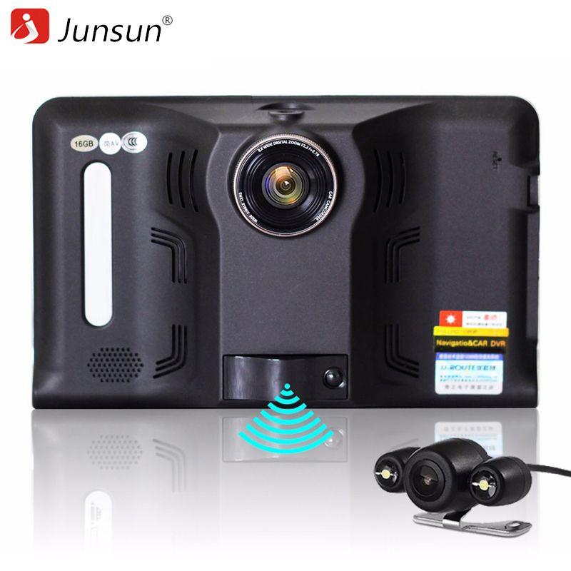 Junsun 7 inch Android Car DVR GPS Radar Dash Camera Video Recorder 16GB Rear <font><b>view</b></font> Truck GPS Navigation FM AVIN WIFI sat nav