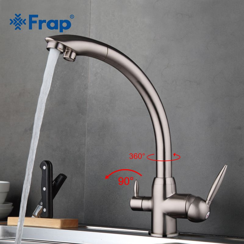 Frap New Arrival Kitchen Faucet Deck Mounted Mixer Tap 180 Degree Rotation with Water Purification Features Nickle F4399-5