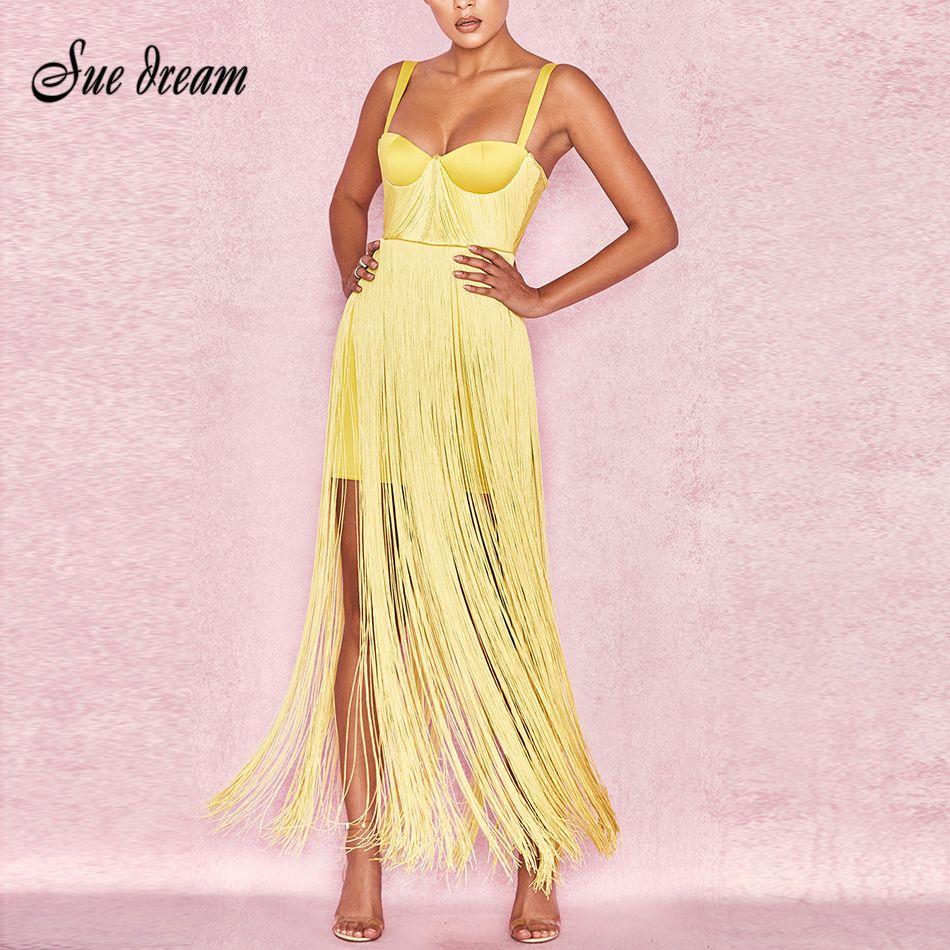 New Yellow Black Bandage Dress 2018 Sexy Celebrity Evening Party Dress Summer Women Tassels Fringe Dress Club Dresses Vestidos