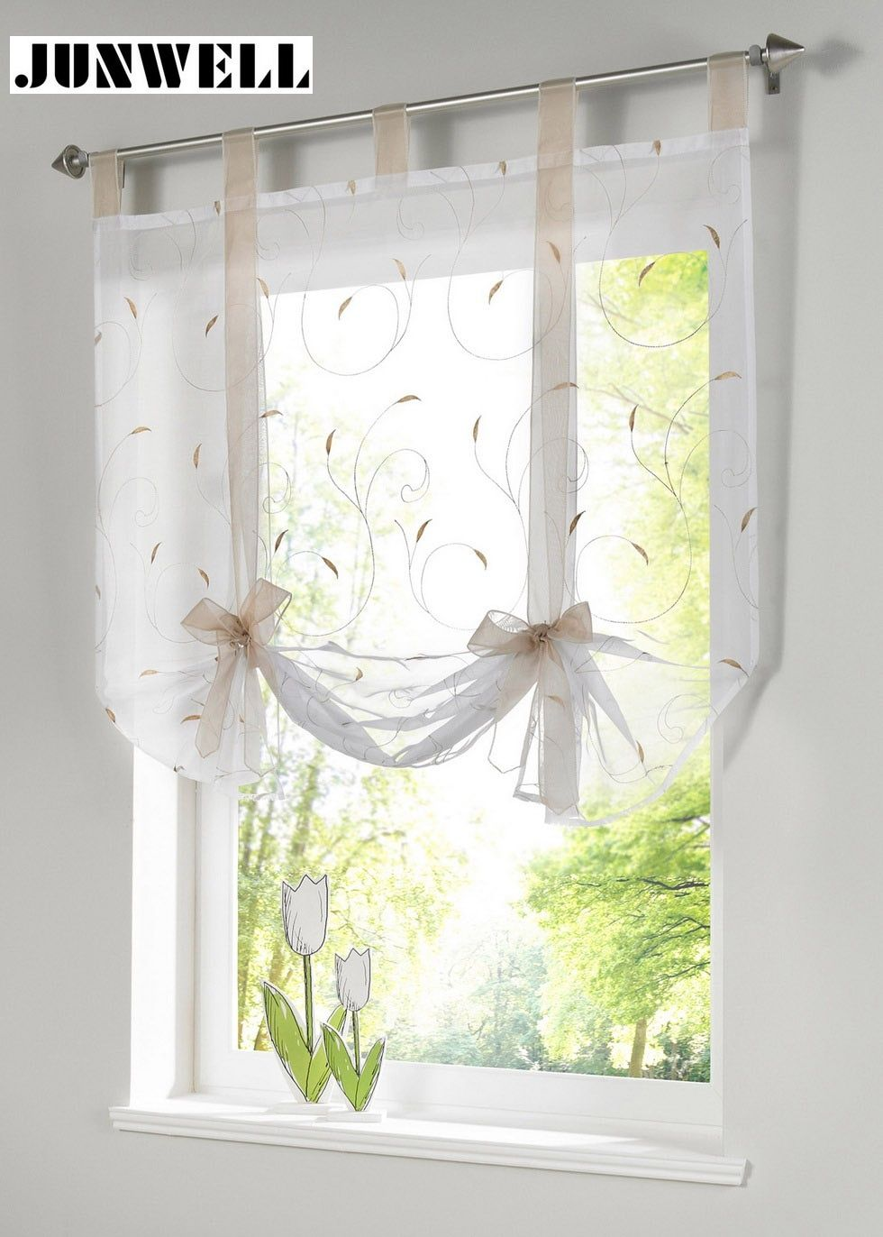 Roman shade European embroidery style tie up window curtain kitchen curtain voile sheer tab top window brand curtains cortinas
