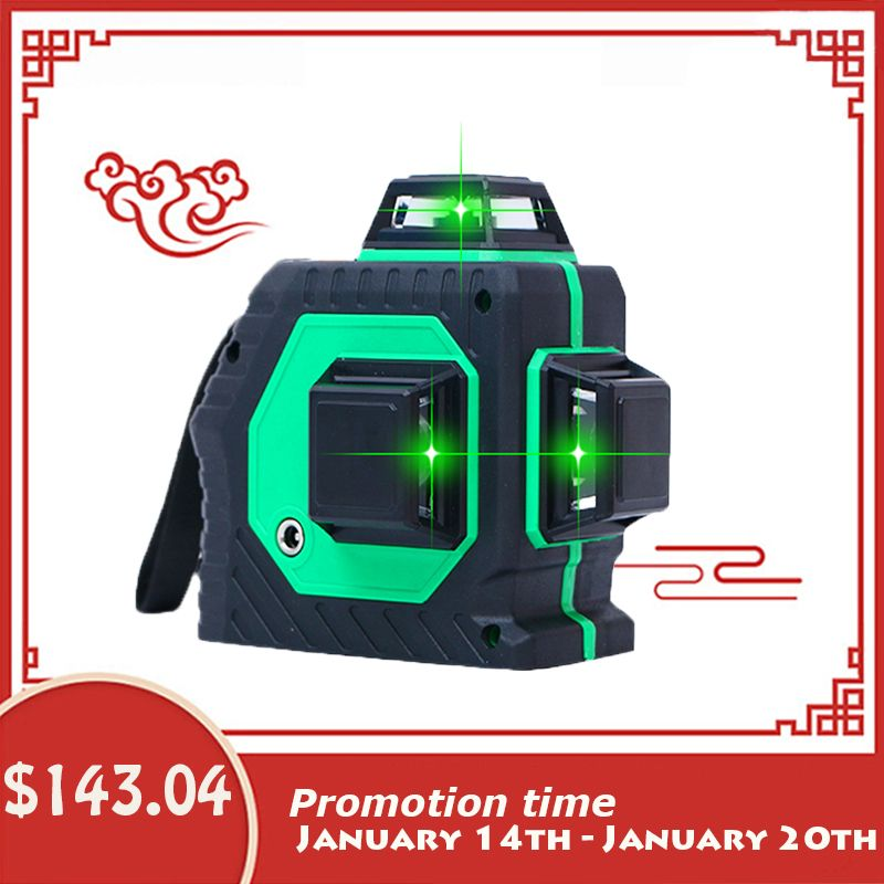 Xeast 12 lines Green beam 3D 360 degree Rotary Wall Multi cross Line Auto Self-Leveling Laser Level meter tool machine
