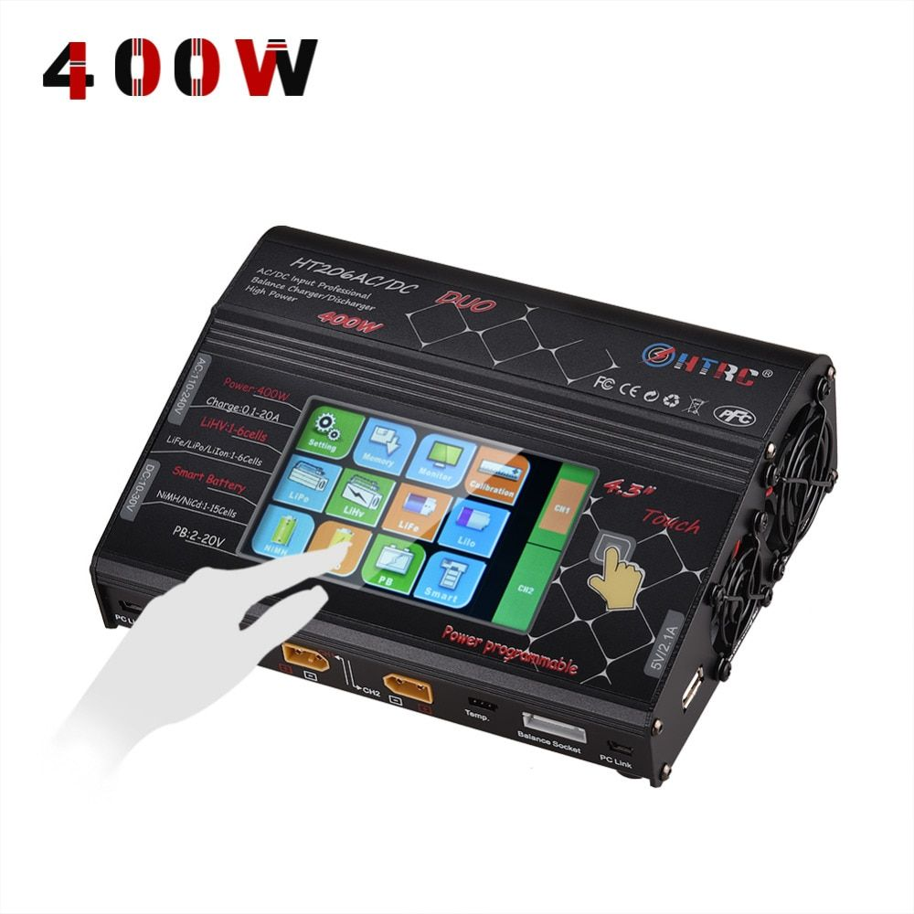 HTRC HT206 AC/DC DUO 200W*2 20A*2 Dual Port 4.3 Color LCD Touch Screen RC Balance Charger for Lilon/LiPo/LiFe/LiHV Battery