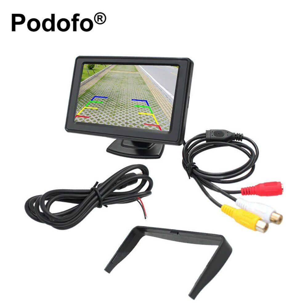 Podofo Universal 4.3 TFT LCD Display Car Rear View Monitor Parking Rearview System for Backup Reverse Camera DVD VCD Auto TV
