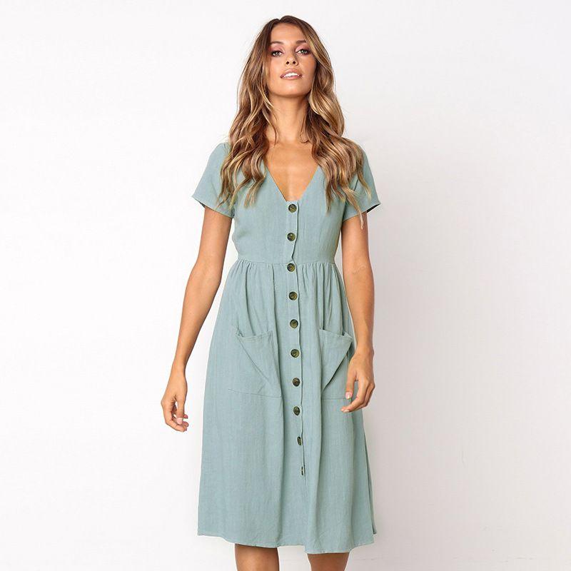 Women's <font><b>Fashion</b></font> Summer Elegant Dresses Short Sleeve V Neck Button Decorative Swing Midi Dress with Pockets