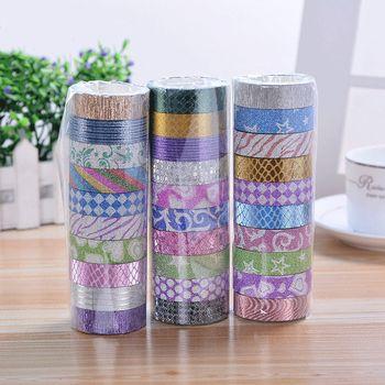 10 Pcs/ensemble Glitter Couleur Washi Bande Ensemble Japonais Papeterie Scrapbooking Décoratif Bandes Ruban Adhésif Kawai Adesiva Decorativa