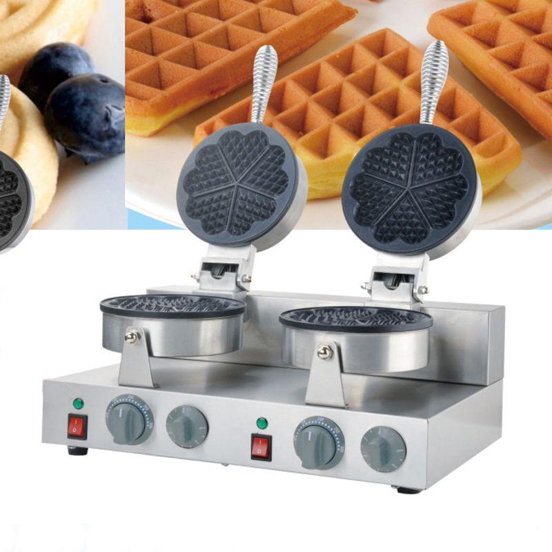 Doppelkopf edelstahl 110 V/220 V 5 stücke herzförmige elektrische waffelmaschine waffeleisen eisen maschine