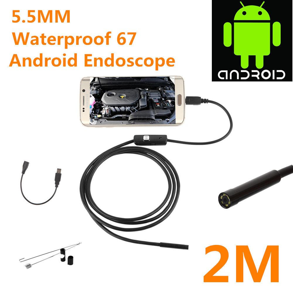 2017 Newest 5.5/7mm Waterproof Mini Android Endoscope USB Wire Snake Tube Inspection Borescope Compatible Android Smartphone PC