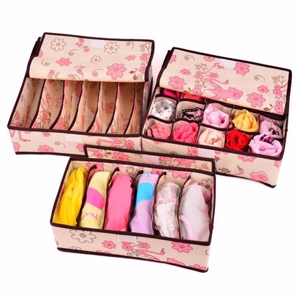 3 in 1 Set Grid Pattern Folding Storage Box Underwear Bra Necktie Sock Briefs Organizer Box Home Closet Storage Bag Case